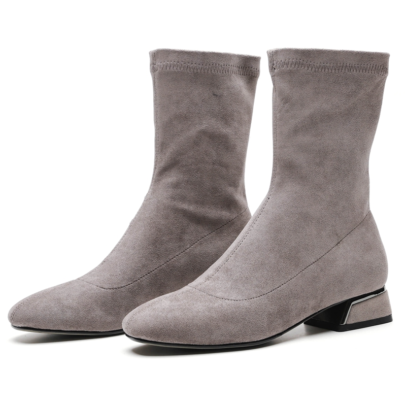 Black 2018 grey Anmairon 34 Chaussures Cheville Arrondi Base Nouvelle Grande Taille 43 Slip on Bottes Hiver Mode Femme Femmes Ly261 De Bout K1JlFc