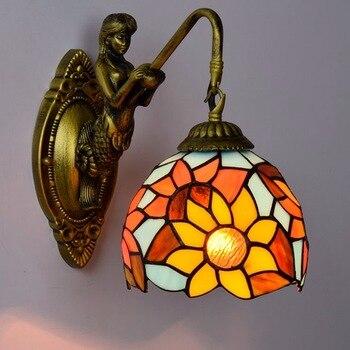 fashion tiffany sunflower Mediterranean  Mermaid mirror light fashion rustic wall lamp   bed lamps