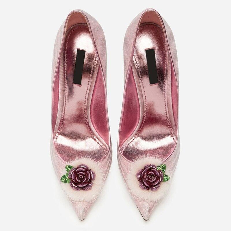 Hot Women Pumps Wedding Party Runway Brand High Thin Heels Stiletto Slip On Sapato  Feminino Flower cb44f84ecb11