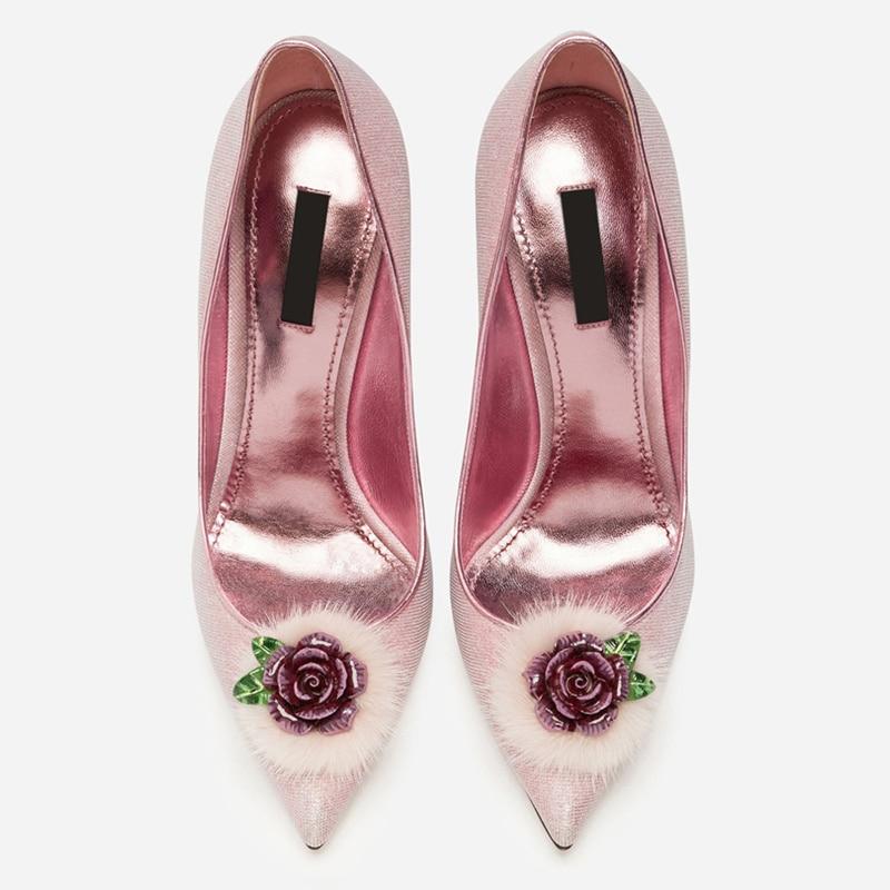 Hot Women Pumps Wedding Party Runway Brand High Thin Heels Stiletto Slip On Sapato Feminino Flower Decor Chic Lady Woman Shoes