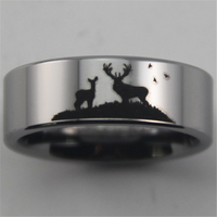 Free Shipping USA UK Canada Russia Brazil Hot Sales 8MM Silver Pipe Deer Scene Design Comfort Mens Fashion Tungsten Wedding Ring