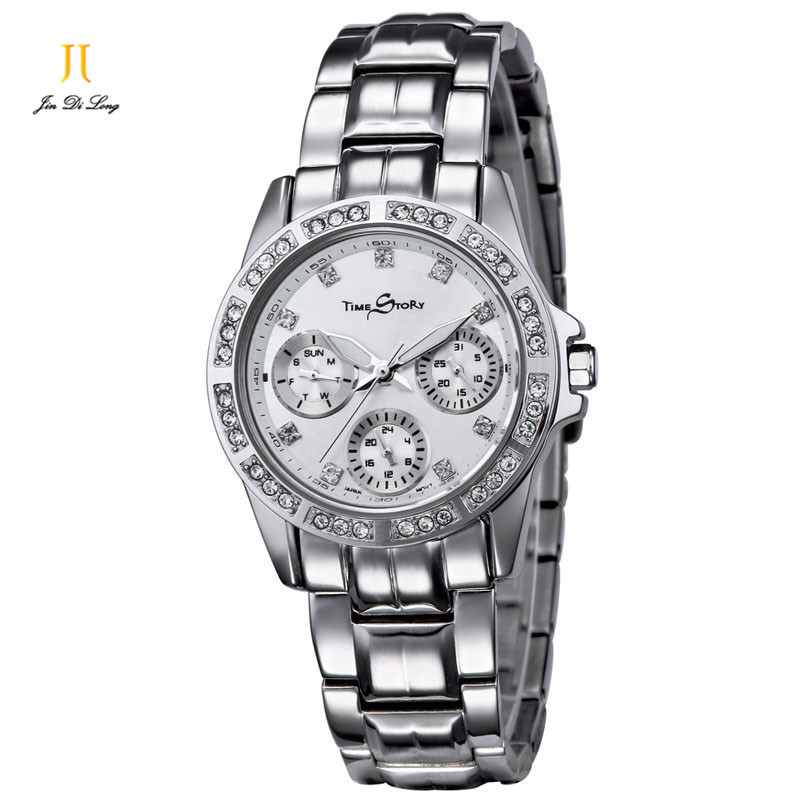 цена на Brand Luxury Fashion Elegant Watch Women's Quartz Diamond Wrist Watches Date Week Calendar 24 Hours Stainless Steel Strap