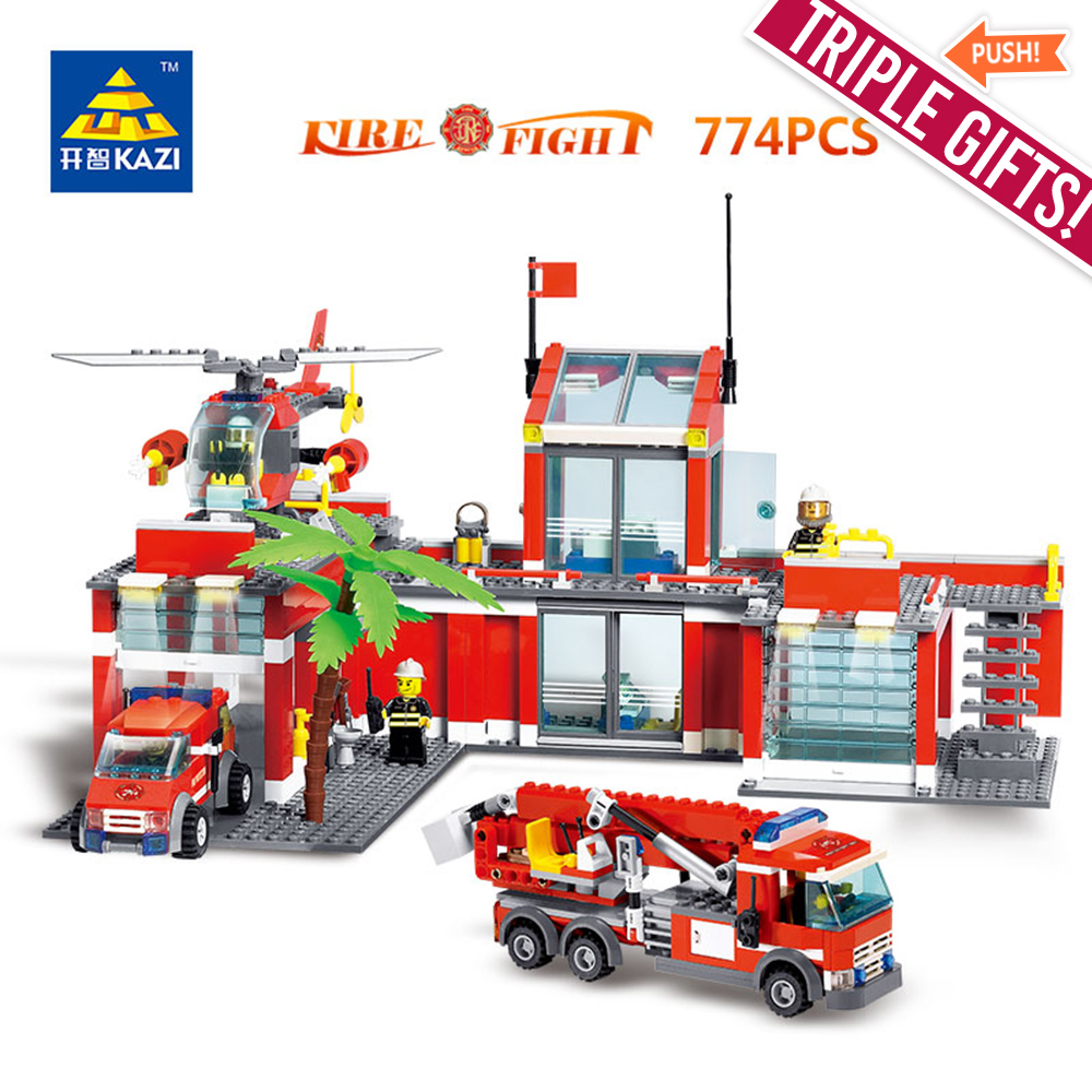 76pcs Big Blocks City Fire Station Architecture Building Diy Lego 10593 Duplo Kazi Toys For Children Emergency Rescue Bricks Sets
