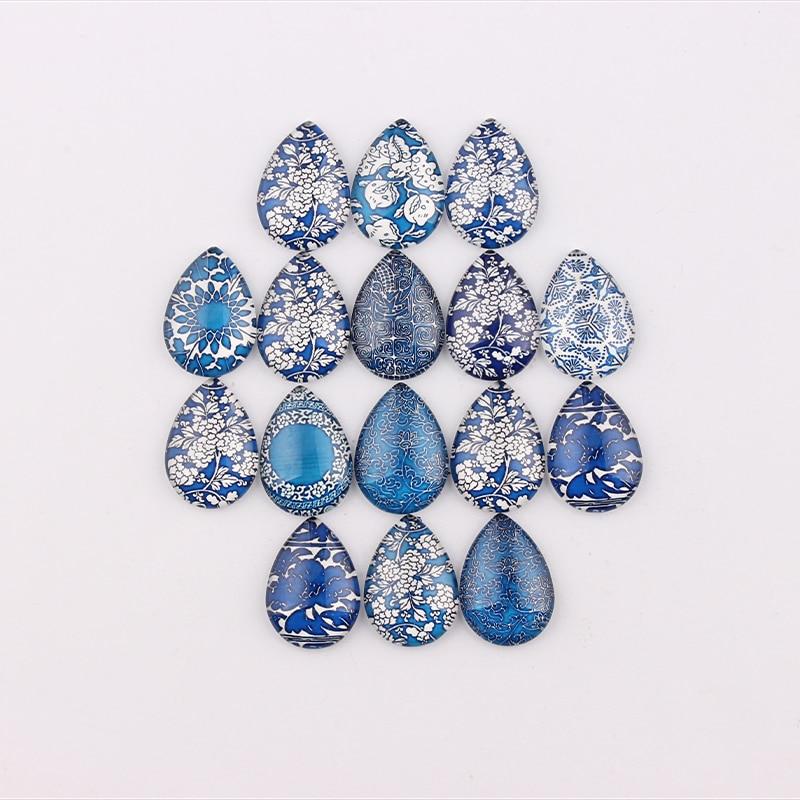 Handmade 18x25mm 13x18mm Glass Blue Flor Teardrop Flatback Cameo Cabochon Domed DIY Jewelry Photo Pendant Setting