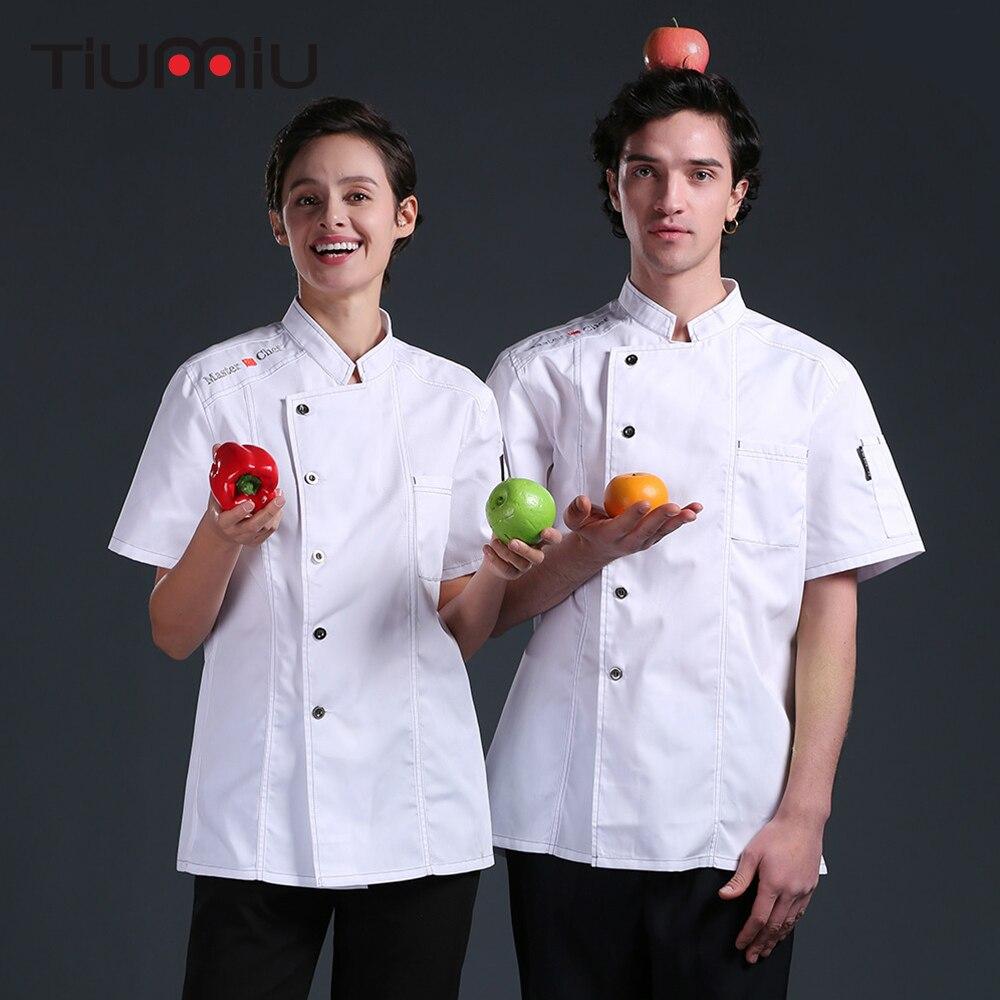High Quality Master Chef Uniform Cook Jacket Summer Short Sleeve Kitchen Barbershop Hotel Food Service Men Women Work Clothes