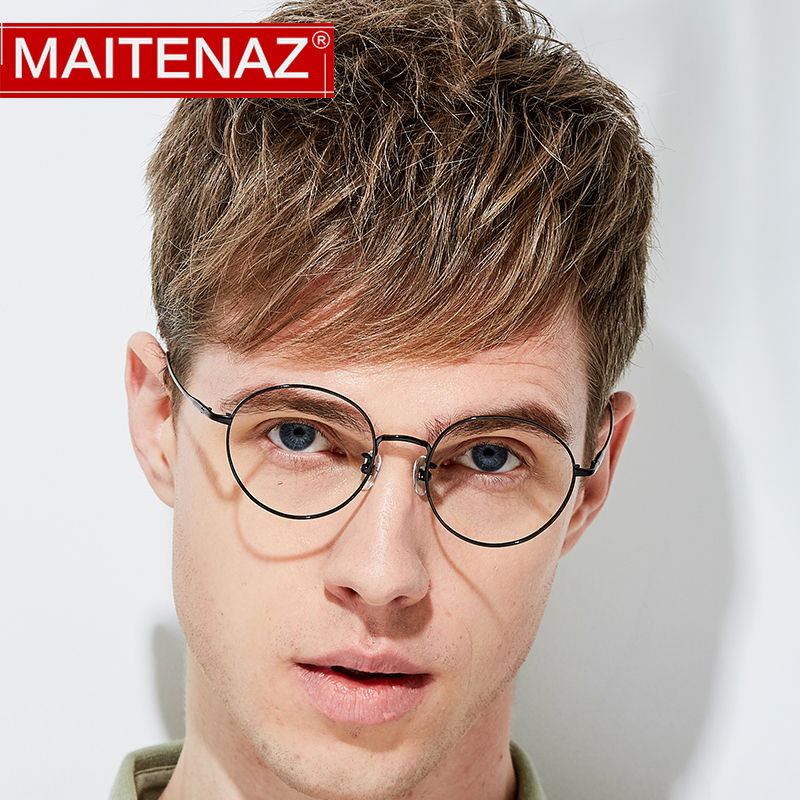 MAITENAZ Pure Titanium Prescription Eyeglasses Vintage Myopia Hyperopia Glasses for Men Women Fashion Protection Spectacles 1640(China)