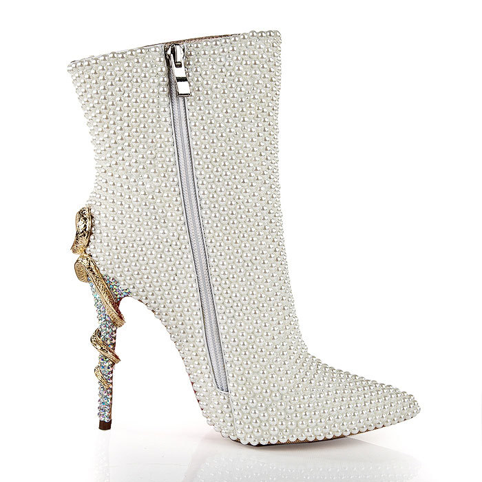 LSDN-1303 New Fashion Sexy Pearl Metal Snake-heel Shoes Women Tip Fine-heeled Side Zipper Night Club High-heeled BootsLSDN-1303 New Fashion Sexy Pearl Metal Snake-heel Shoes Women Tip Fine-heeled Side Zipper Night Club High-heeled Boots