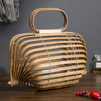 2018 Bamboo Basket Bamboo Bag Women Large Straw Bag Summer Hollow Out Tote Luxury Designer Foldable