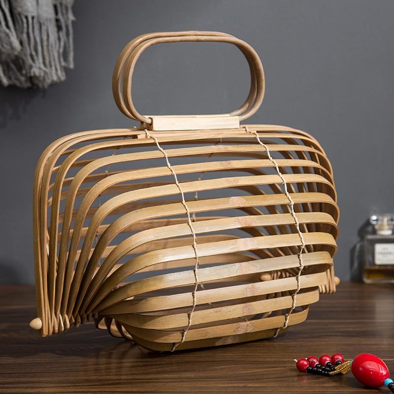 2018 Bamboe Mand Bamboe Tas Vrouwen Grote Strozak Zomer Hollow Out Tote Luxe Designer Opvouwbare Tas Twee Kleuren-in Top-Handle tassen van Bagage & Tassen op  Groep 1