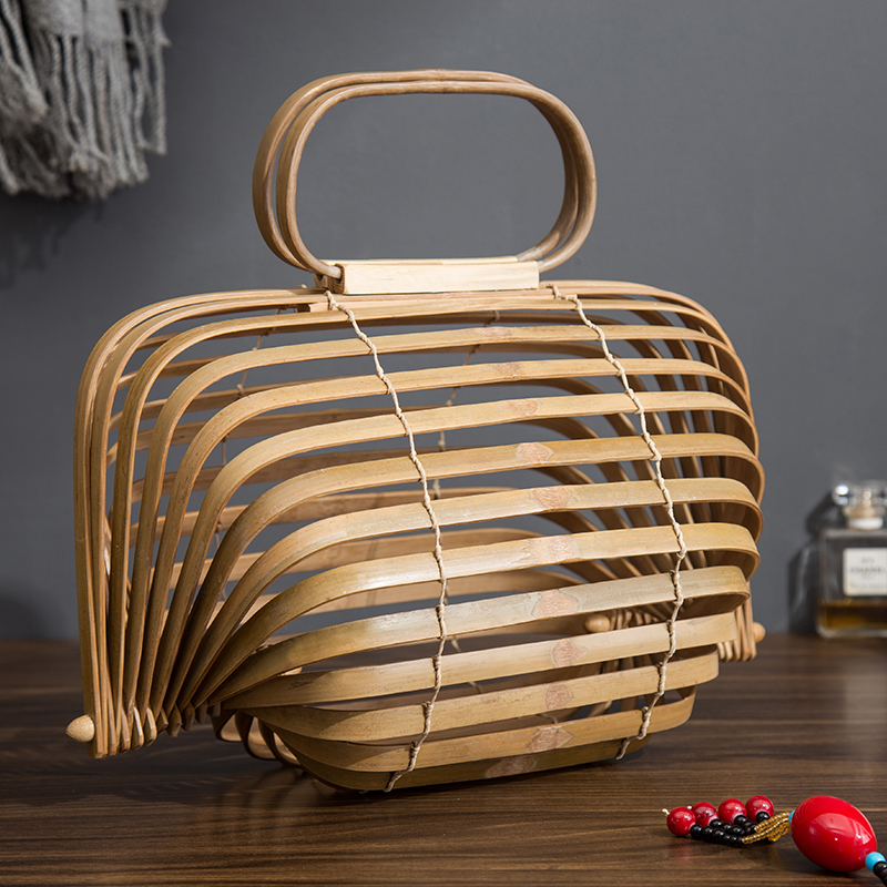 2018 cesta de bambú bolsa mujeres bolso de paja grande verano ahueca hacia fuera el lujo diseñador plegable bolsa de dos colores