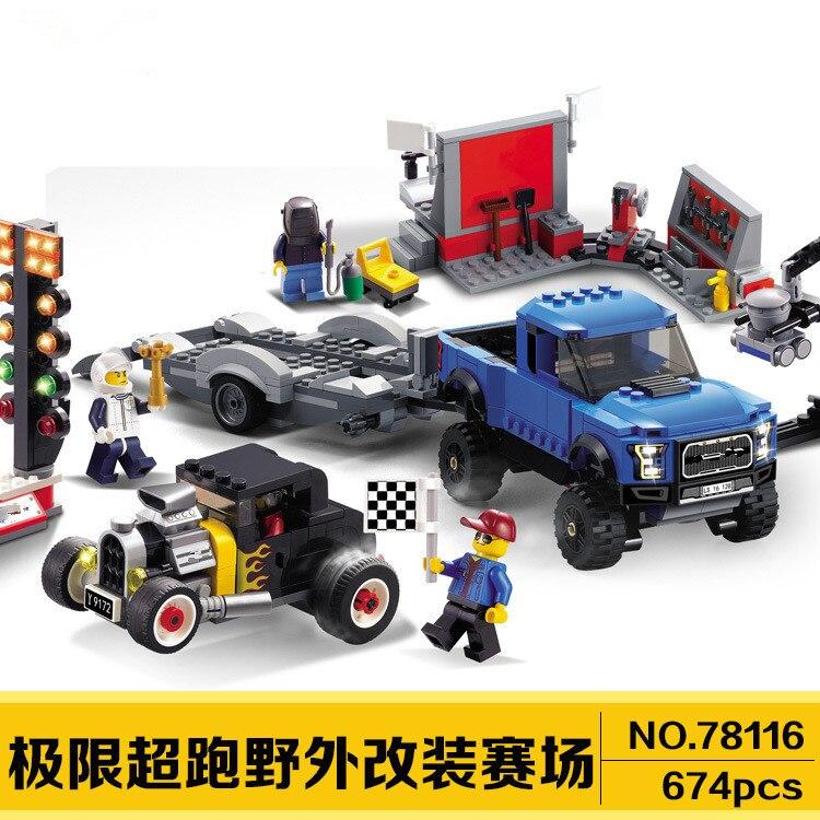 Compatible Avec 75875 Decool 78116 674 pièces Speed Champions Blocs De Construction F-150 Raptor et Modèle Un Hot Rod Briques