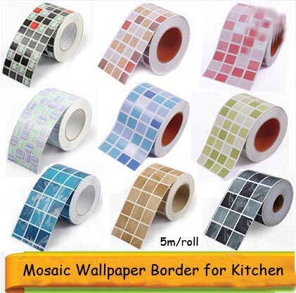 Self Adhesive Mosaic Wallpaper Border Wall Sticker Waterproof Waistline Kitchen Tile Stickers Papel De