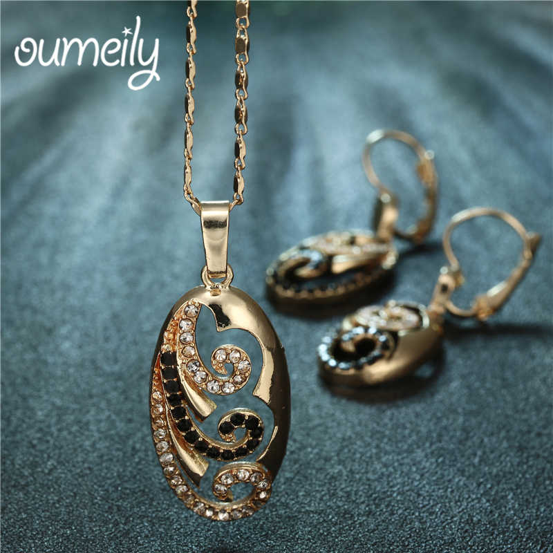 OUMEILY Women African Beads Jewelry Set Indian Imitation Crystal Wedding Bridal Jewelry Sets Party Gold Color Jewellery