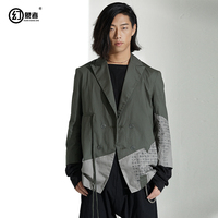 Original designer daily personality male spring new irregular splice loose small suit coat casual clothes single West