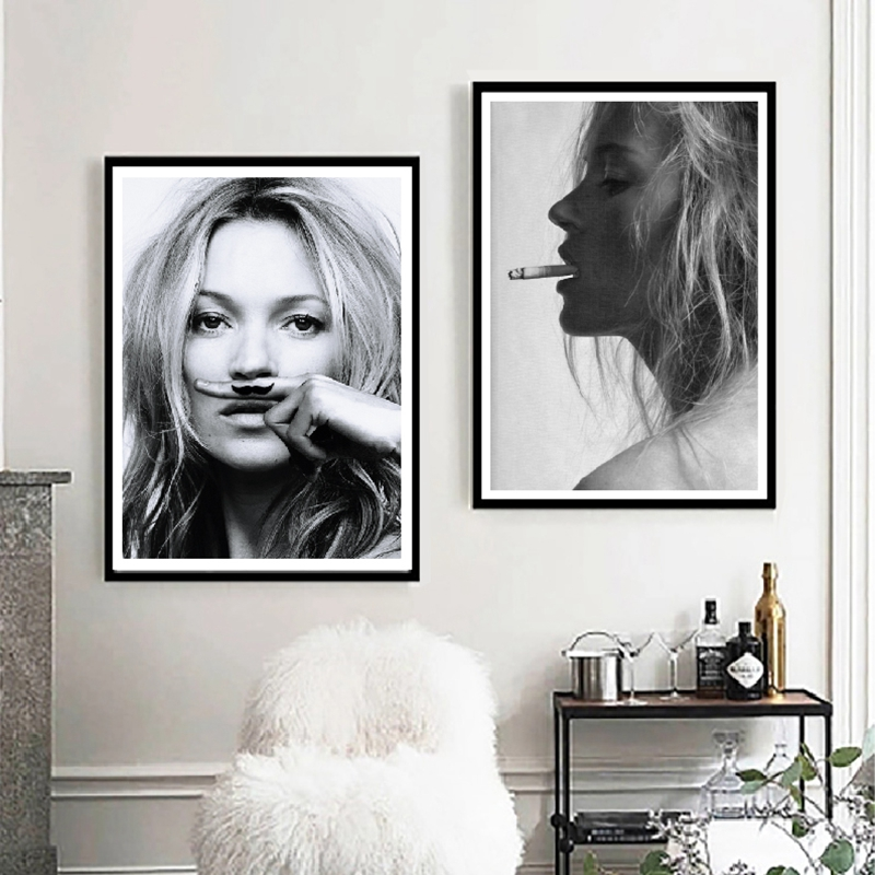 Kate Moss Smoking Fashion Poster Wall Art Prints , Black And White Supermodel Photo Canvas Painting Wall Picture Modern Decor