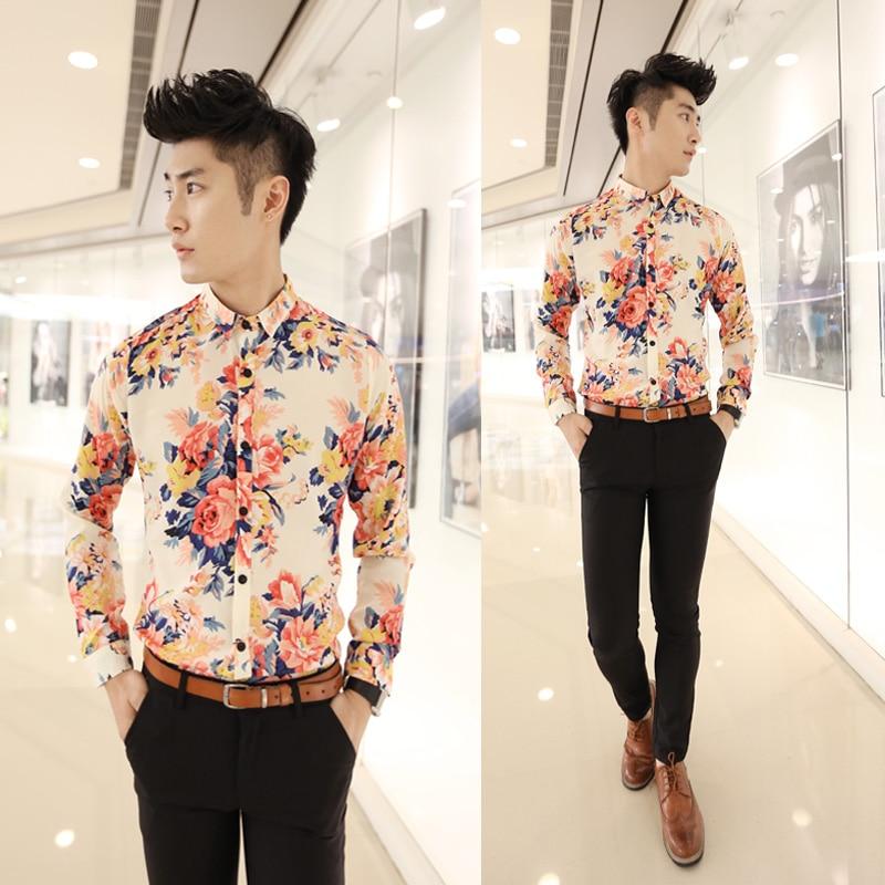 2015 men 39 s floral print shirt slim long sleeve shirt for Mens printed long sleeve shirts