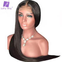 Luffy Silky Straight Pre Plucked Full Lace Human Hair Wigs With Baby Hair 130% Density Glueless Brazilian Full Lace Wig Non Remy