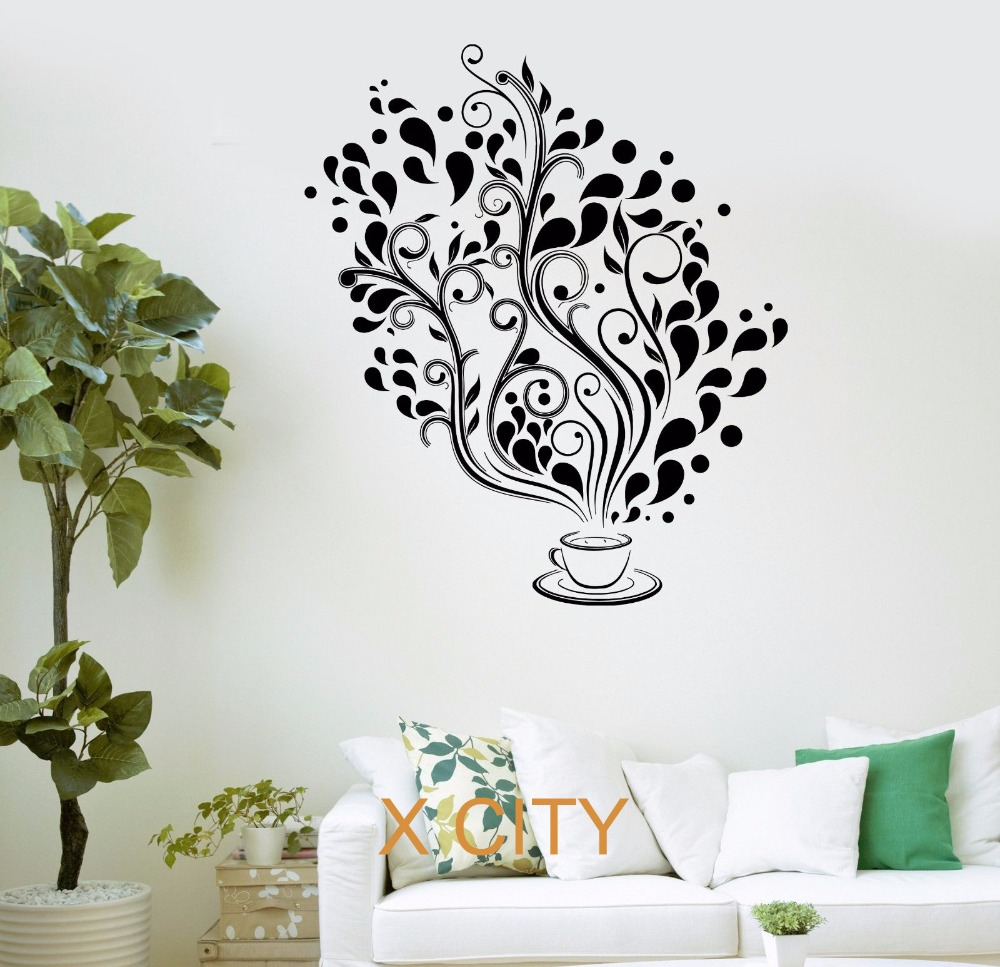 Buy coffee cafe fancy tree kitchen bar for Stencil wall art