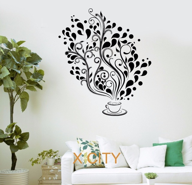 Coffee Cafe Fancy Tree Kitchen Bar Restaurant Office Wall Art Decal Sticker  Removable Vinyl Transfer Stencil Part 91