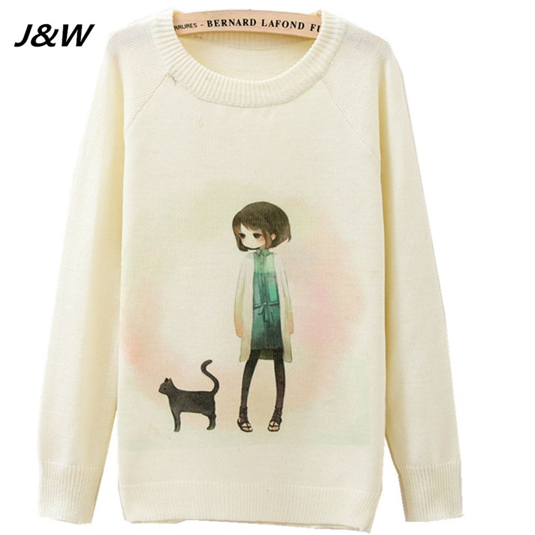 J&W Hot Sale High Quality Crop Sweater Carton Cat And Beauty Girl ...