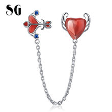 SG New 925 Sterling Silver Red Enamel Love & arrow for Safety Chain Stopper Beads Fit Charm Bracelet for Women Fine Jewelry bamoer 100% 925 sterling silver purple enamel daisy flower safety chain stopper charm fit charm bracelet diy jewelry scc602