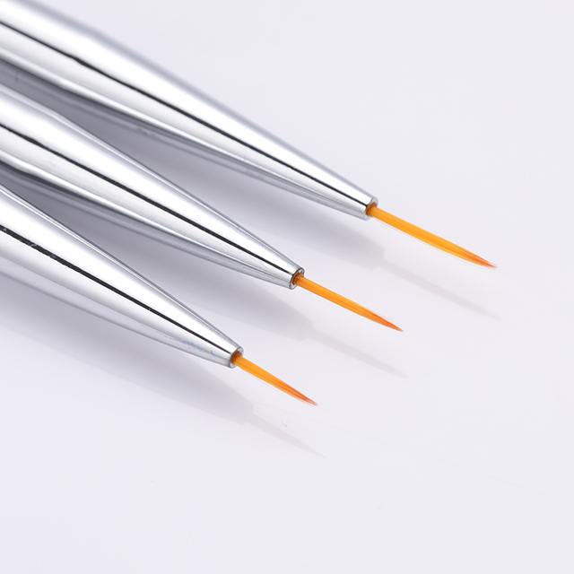 3 Pcs/Set Nail Liner Brushes Painting Brush Acrylic UV Gel Pen Glitter Handle Soft Hair Manicure Nail Art Tools