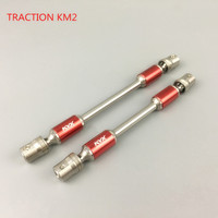 1Pair 1/8 TRACTION km2 Drive Shaft Stainless Steel Telescopic Transmission Shafts Universal Axle for Climbing RC Cars