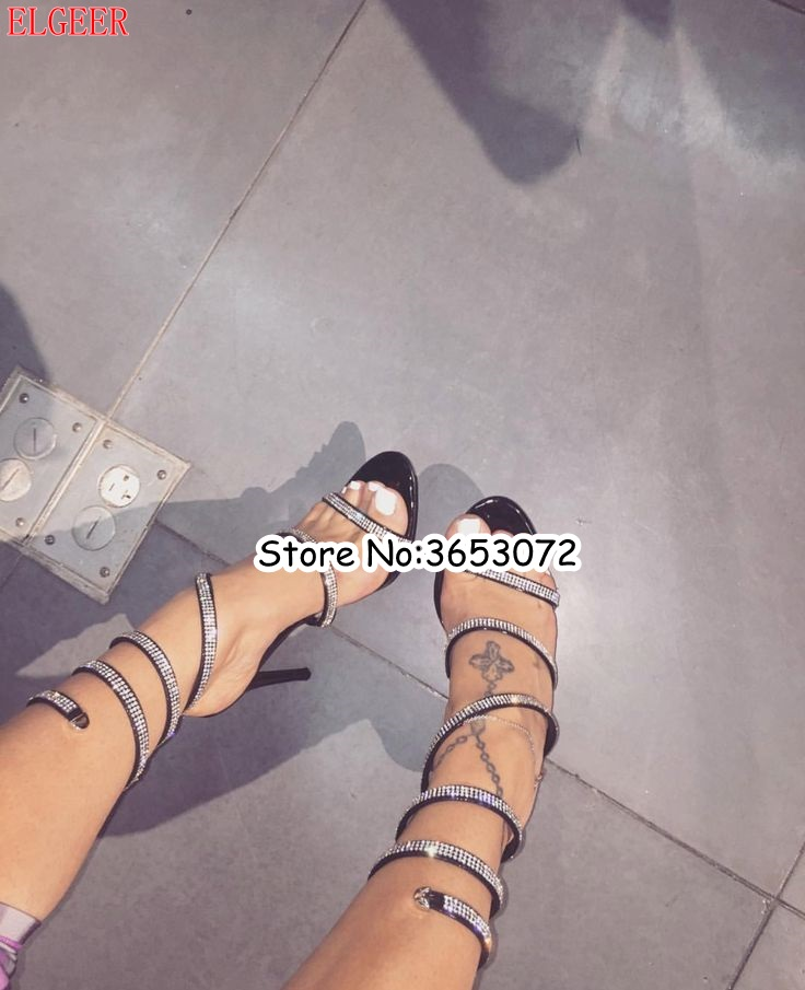 Women's Shoes Slip-on Rhinestone Party Dress Lady High Heels Sandals Shoes Stelitto Snake-shaped Ankle Wrap Gladiator Sandals Woman Shoes