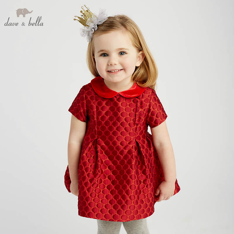 DB8675 dave bella baby girls dots Dress sleeves spring dresses kids girls dress children birthday party