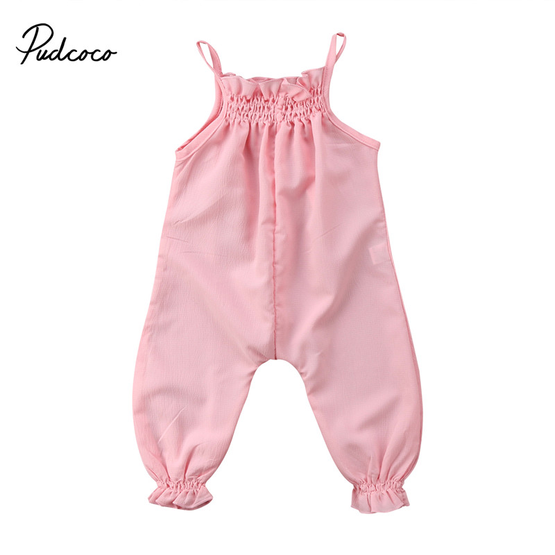 Newborn Toddler Kids Girl   Romper   2018 Summer Sleeveless Strap Jumpsuit Children Clothes Sunsuit