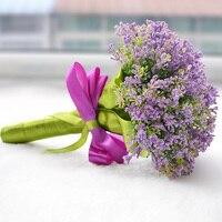 2016 новое поступление фиолетовый свадебный букет на заказ Искусственные Свадебные цветы buque de noiva Свадебный букет невесты