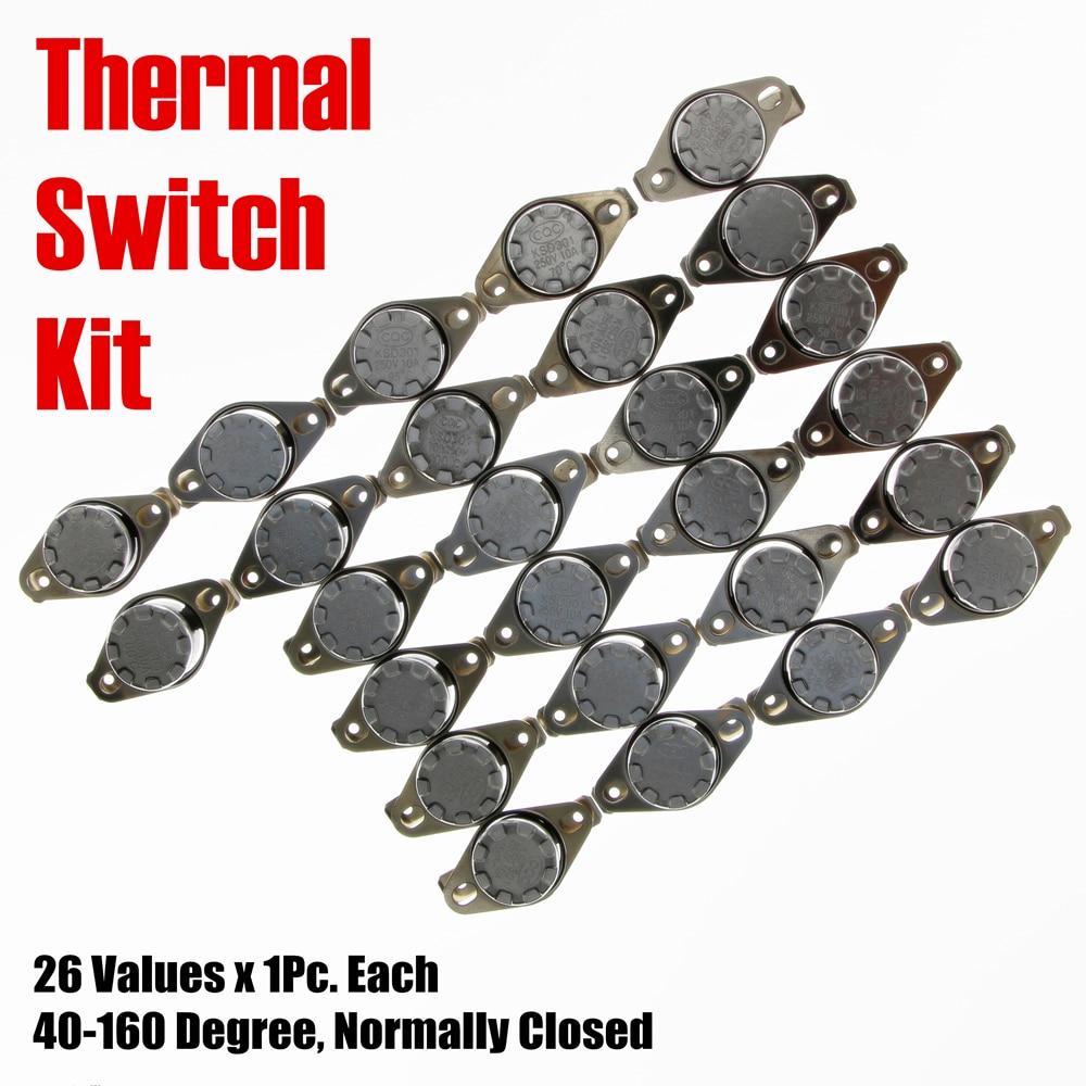PHISCALE Temperature Switch Kit 26Values x 1Pc 40-160 Degree Normally Closed KSD301 Metal Thermal Sensor 10A For Repair 1pcs ksd302 16a 250v 40 130 degree ceramic ksd301 normally closed temperature switch thermostat 45 55 60 65 70 75 80 85