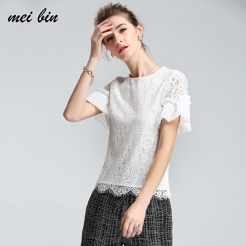 Simplee Elegant floral lace blouse shirt Women Puff sleeve white blouse 2017 Summer hollow out short top blouse blusas