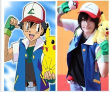 Pokemon Ash Ketchum Costume formateur veste Cosplay + gants + chapeau(China)