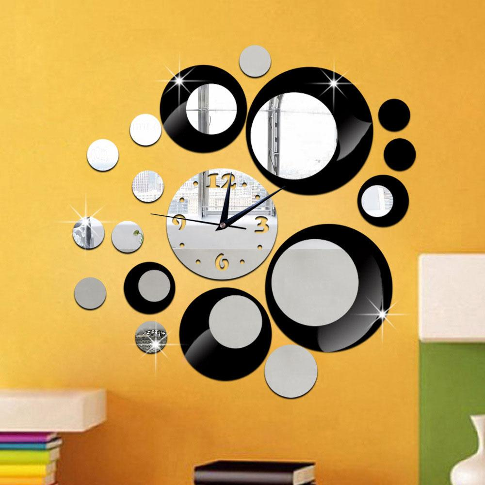 Creative Wall Clock Mirror 3D Wall Sticker Living Room Decoration ...