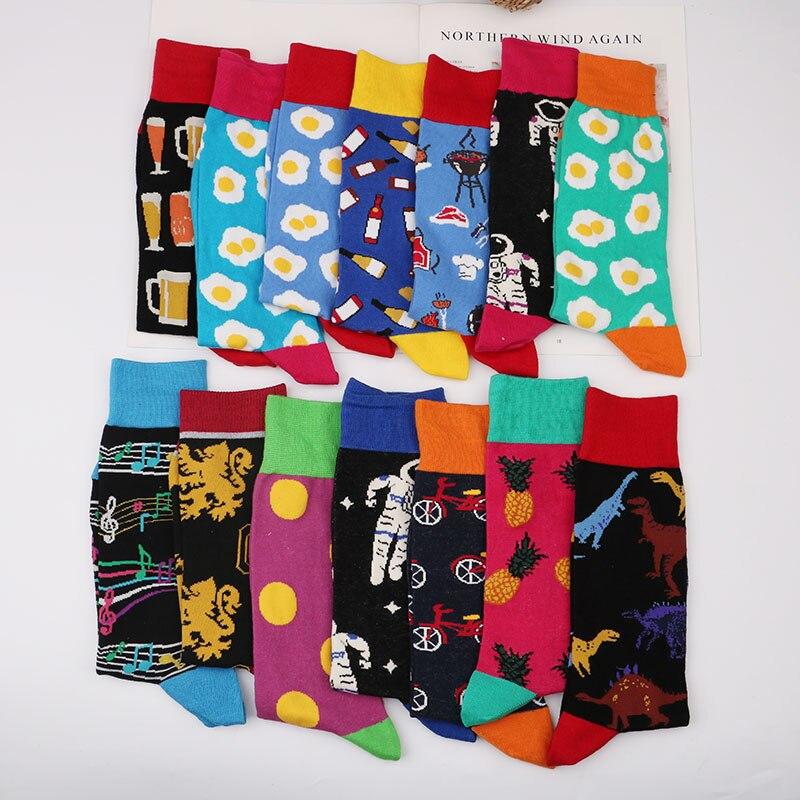 Men Casual Cotton Happy Socks Socks Harajuku Hip Hop British Style Funny Colorful Funny Streetwear Gift