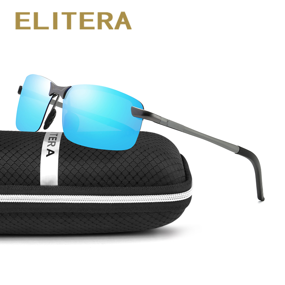 ELITERA Fashion Aluminium Magnesium Rimless Polarized Sunglasses Men Coating Mirror Solbriller UV400 Driving Eyewear Accessories