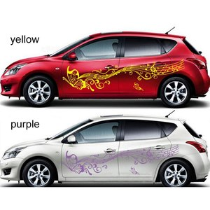 Image 3 - 1 Pair 223cm Music Car Stickers and Decals Butterfly Auto Whole Body Sticker Doors Vinyl Car Styling Accessories