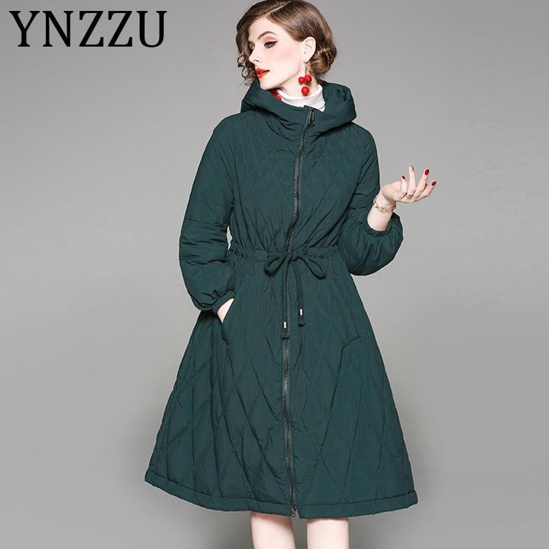 YNZZU Elegant 2019 New Winter Women's   Down   Jacket Long 90% White Duck   Down     Coat   Woman Hooded Warm Lace Up Slim Outwear A1042