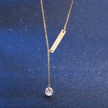 stainless steel gold filled bar necklace with clear rhinestone drop dangle