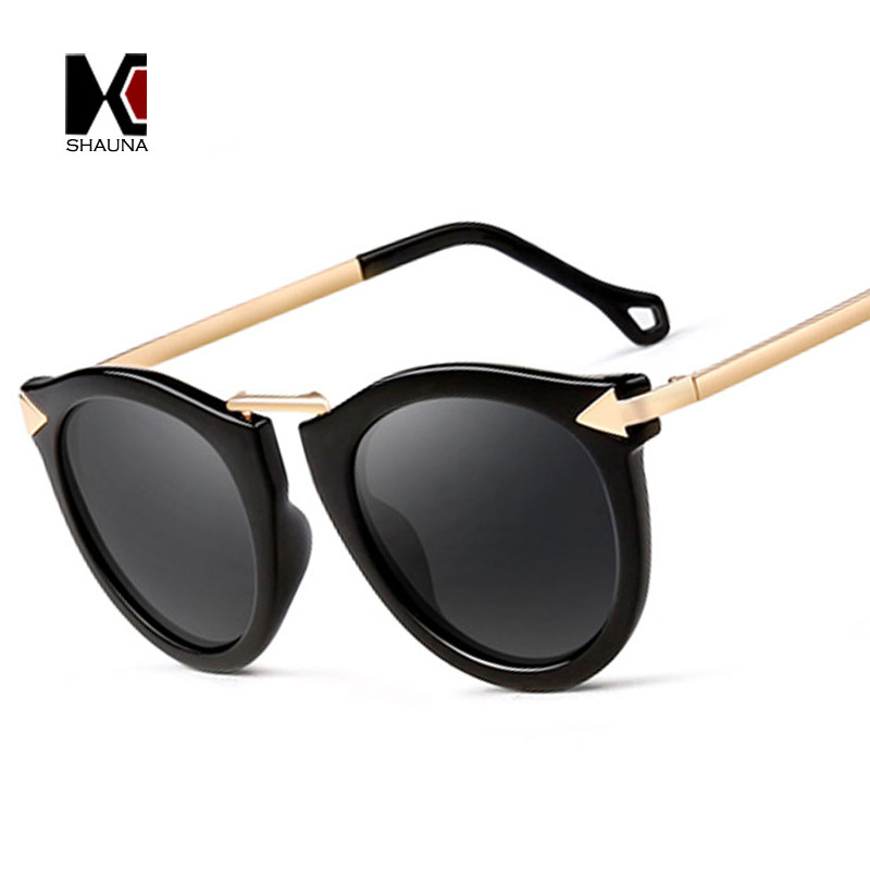 SHAUNA Classic Retro Summer Style Women Cat Eye Sunglasses Brand Designer Vintage Ladies Mirror Coating Eyewear