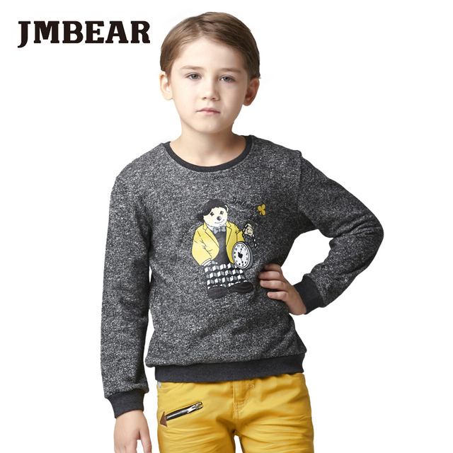 JMBEAR 6-14 years boys hoodies thick t shirt long sleeve cotton tops kids t-shirt clothes autumn  tee 2016 new
