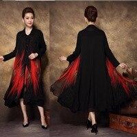 2017China style Fashion Women elegant twinset dress middle age female autumn turn down collar printed party dress Plus sizeXXXXL