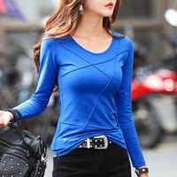 Neue Frühling T Shirt Frauen Tops Tees Lange Hülse Weibliche T-shirt Einfarbig Baumwolle T-shirts Für Frauen Herbst T-shirt Korean stil
