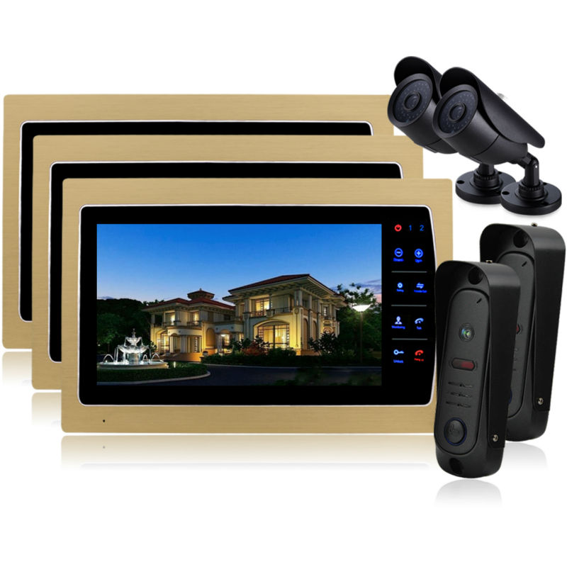 Homefong Home 10 Inch TFT Monitor Video Door Phone Intercom System Night Vision Doorphone Intercom Color CMOS Camera IP 65 homefong villa wired night visual color video door phone doorbell intercom system 4 inch tft lcd monitor 800tvl camera handfree