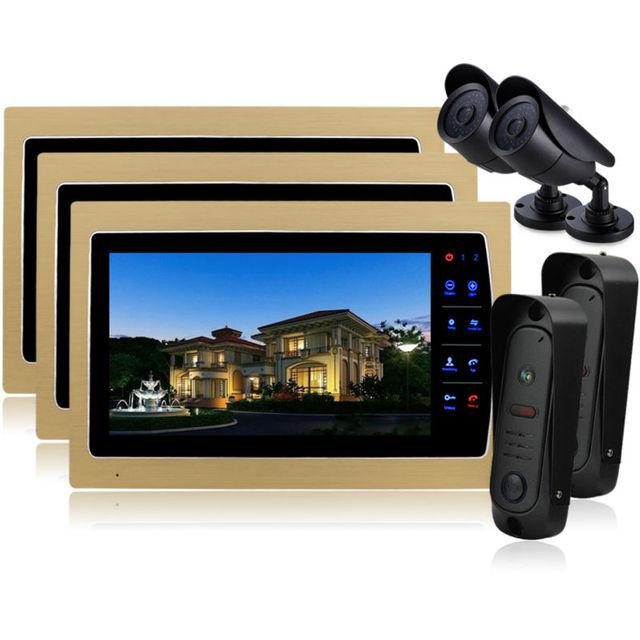 Homefong Home 10 Inch TFT Monitor Video Door Phone Intercom System Night Vision Doorphone Intercom Color CMOS Camera IP 65