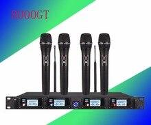 Sistema de microfone sem fio 8000GT canais UHF profissional microfone dinâmico 4 microfone de karaokê profissional + mais recente concep