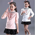 2016 New spring Fall girls clothing T-shirt long sleeves children long T-shirt stripe bottoming shirt Top for girs tees