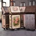 Brother 2 wenjie pcs/set 14 polegada cosméticos saco mais 20 polegadas resto rosas casal de couro pu bolsa de viagem do trole luggag para unisex