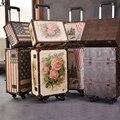 Wenjie brother 2 pcs/set 14 pulgadas bolsa de cosméticos más 20 pulgadas resto rosas par de cuero de la pu bolsa de viaje luggag para unisex